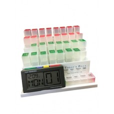 Daily Medication Storage Organiser with Recordable Message Alarm Reminder Clock