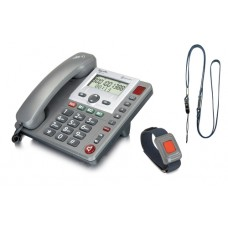 PowerTel 97 Alarm Big Button Corded Telephone with Wireless remote SOS pendant