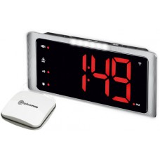 Vibrating wake up alarm clock with extra-large display